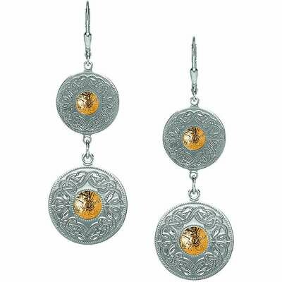 Sterling Silver Celtic Warrior® Shield Drop Earrings with 18K Gold Bead