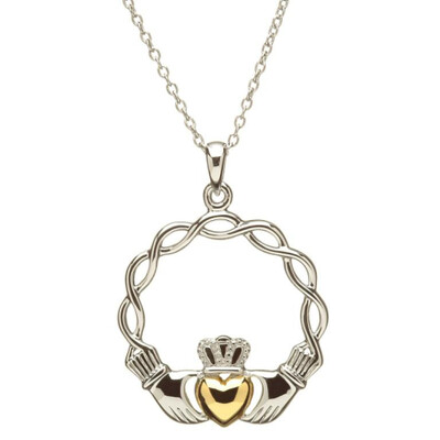 """Sterling Silver Celtic Wave Claddagh Pendant & 18"""" Sterling Silver Chain"""