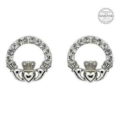 Sterling Silver Claddagh Stud Earrings Adorned with Swarovski Crystals