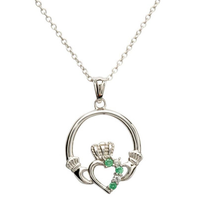 """Sterling Silver Claddagh Part Set Pendant & 18"""" Sterling Silver Chain"""