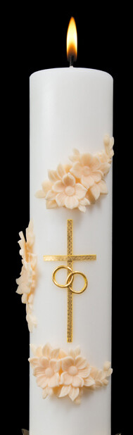 Holy Matrimony- Center Candle Only, Gold/Cream