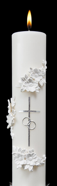 Holy Matrimony- Center Candle Only, Silver/White