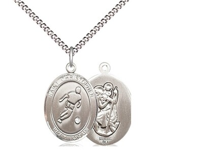 Sterling Silver St. Christopher Soccer Sports Medal on a 18
