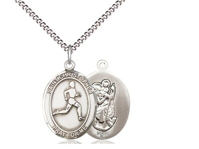 Sterling Silver St. Christopher Track & Field Sports Medal on an 18
