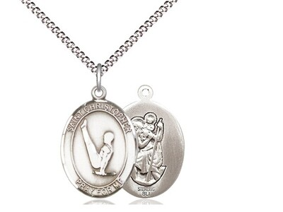 Sterling Silver St. Christopher Gymnastics Sports Medal on a 18