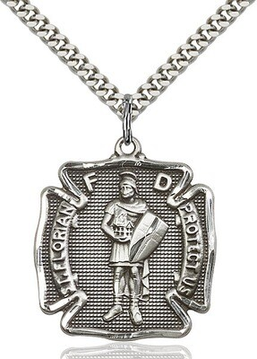"""Sterling Silver St. Florian Firefighers Badge Medal (Larger Size) on a 24"""" Light Rhodium Chain"""