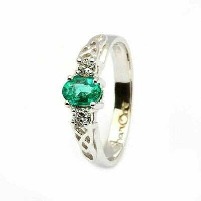 Celtic Trinity Knot Ring- 14kt White Gold, Oval Emerald and 2 Brilliant Cut Diamonds
