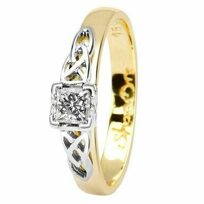 Celtic Trinity Knot Ring- 14kt Yellow and White Gold, Solitaire Princess Cut Diamond