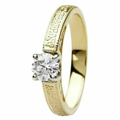 Celtic Diamond Ring- 14kt Yellow and White Gold, Solitaire Round Cut Diamond