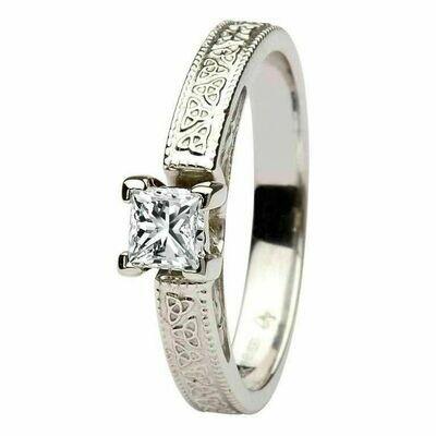 Celtic Diamond Ring- 14kt White Gold, Solitaire Princess Cut Diamond
