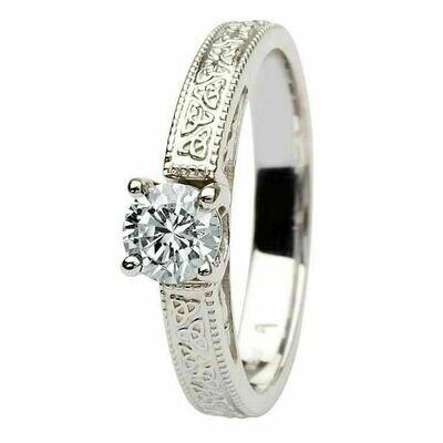 Celtic Diamond Ring- 14kt White Gold, Solitaire Round Cut Diamond