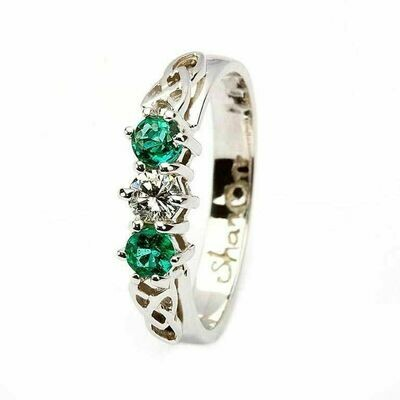 Celtic Trinity Knot Ring- 14kt White Gold, 2 Emeralds and 1 Diamond