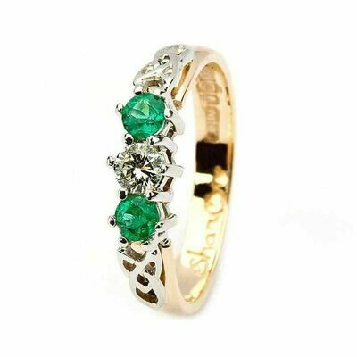 Celtic Trinity Knot Ring- 14kt Yellow and White Gold, 2 Emeralds and 1 Diamond