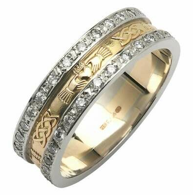 Ladies 14kt Yellow Gold Corrib Claddagh Pavé Diamond Set with White Edges