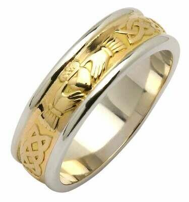 Mens 14kt Yellow/White Gold Claddagh/Celtic Corrib Wedding Band