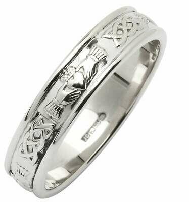 Mens 14kt White Gold Claddagh/Celtic Corrib Narrow Wedding Band