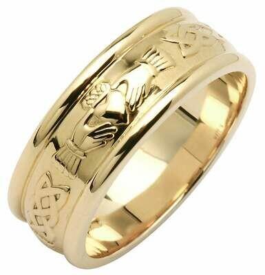 Mens 14kt Gold Wide Claddagh/Celtic Corrib Wedding Band