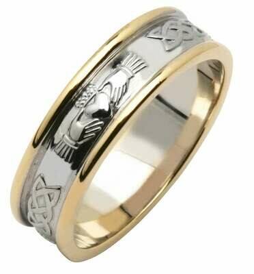 Mens 14kt White/Yellow Gold Wide Claddagh/Celtic Corrib Wedding Band