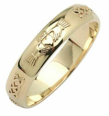 Mens 14kt Gold Narrow Beveled Corrib Claddagh Wedding Band