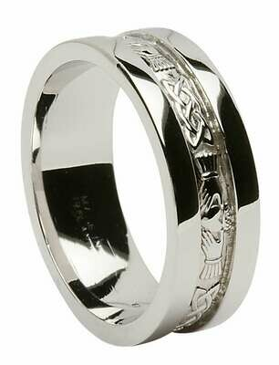 Mens 14kt White Gold Corrib Claddagh with Wide Sides