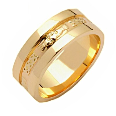 Mens 14kt All Yellow Gold Corrib Claddagh with Wide Sides