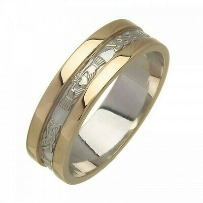 Mens 14kt White Gold Corrib Claddagh with Yellow Wide Sides