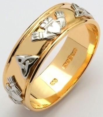 Mens 14kt Gold Wide Corrib Claddagh with White Trinity & Claddagh