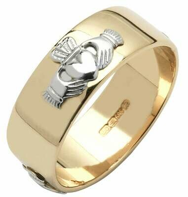 Mens 14kt Yellow Gold Wide Wedding Band with White Claddaghs