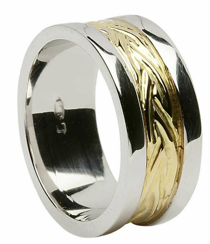 Mens 18kt Gold Yellow Narrow Flat Livia with Wide White Profile Sides