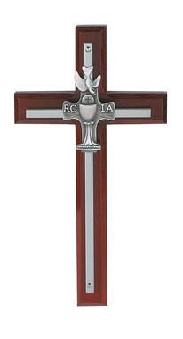 "7"" Cherry Wood RCIA Metal Cross"