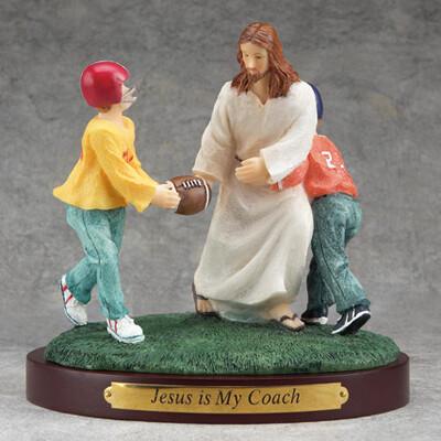 Jesus and Football Figurine
