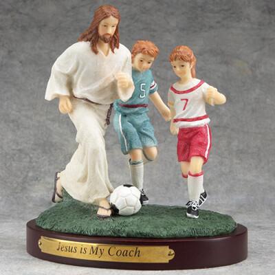Jesus and Soccer Figurine