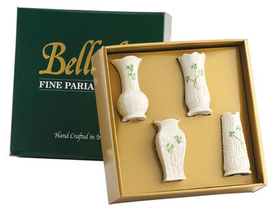 Belleek Shamrock Mini Vases (Set of  4)