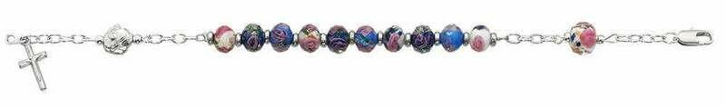 Adult Multi-Colored Crystal Rosary Bracelet
