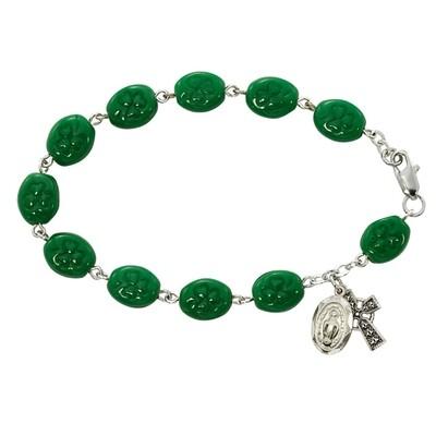 Adult Green Shamrock Rosary Bracelet
