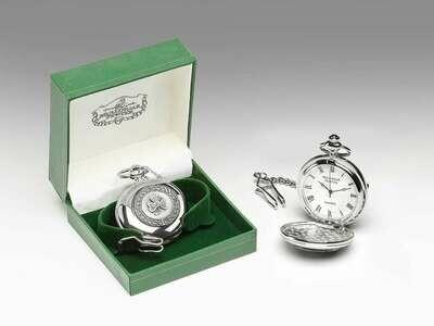 Mullingar Pewter Pocket Watch Shamrock Design