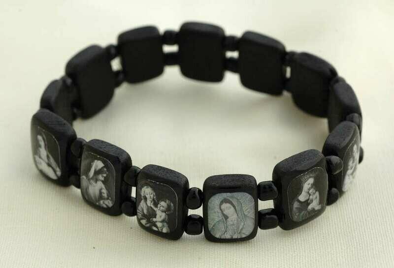 Brazilian Wood Bracelet- Various Saints, Black with Black and White Pictures