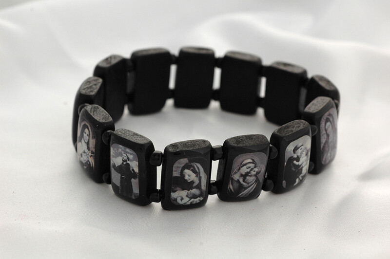 Brazilian Wood Bracelet- Various Saints, XL Fit, Black with Black and White Pictures