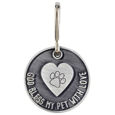 Heart- God Bless My Pet With Love, Pet Medal