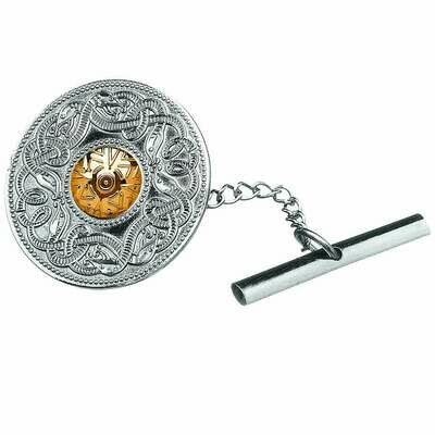 Sterling Silver Celtic Warrior® Shield Tie Tac with 18K Gold Bead- Small