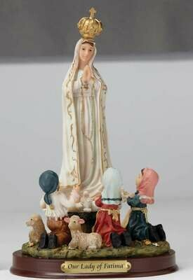 "8"" Our Lady of Fatima with Children Statue"