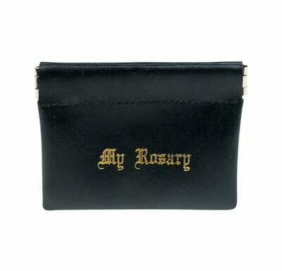 Rosary Pouch- Black Leatherette Squeeze Opening Case