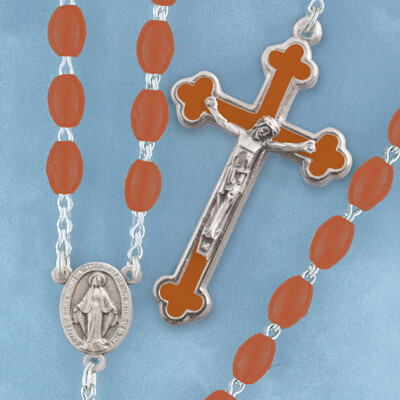 Oval Bead Rosary- Brown