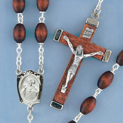 Brown Oval Boxwood Rosary