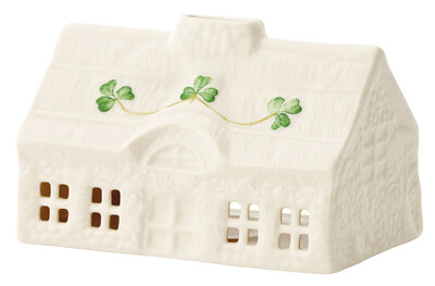 Belleek Shamrock Thatch Cottage Votive