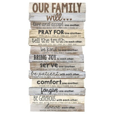 Our Family Stacked Wood Plaque