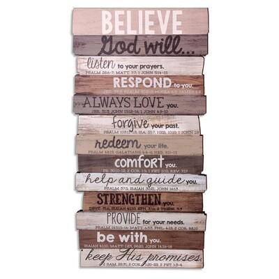Believe Stacked Wood Plaque