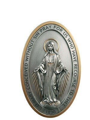 """Miraculous Medal plaque, pewter style finish with gold trim, 5x8"""""""