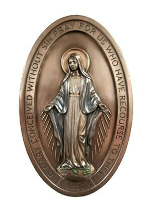"""Miraculous Medal plaque, lightly hand-painted cold cast bronze, 5x8"""""""
