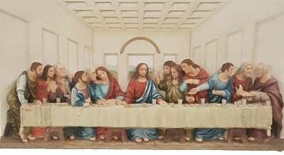 Last Supper Plaque, Hand-Painted Color, 14x7